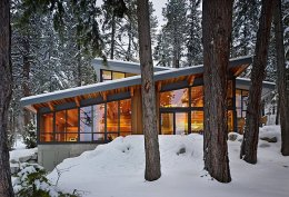 будинок з плоским дахом взимку